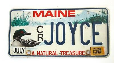 MAINE VANITY Name License Plate-JOYCE-Conservation LOON-CR-A Natural Treasure