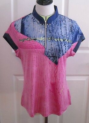 NWT Jamie Sadock Women's Golf Short Sleeve Shirt Top Size L  Color Kisses
