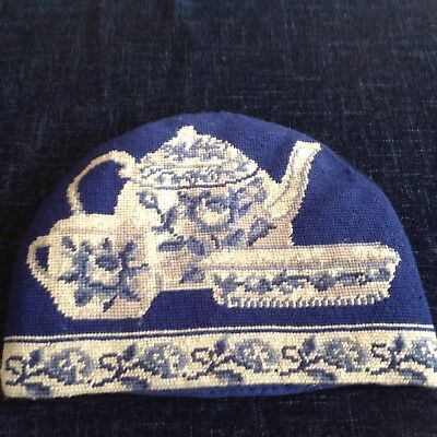 Vintage Blue and White Tapestry Tea Cosy Hand Embroidered with Velvet BackingVGC