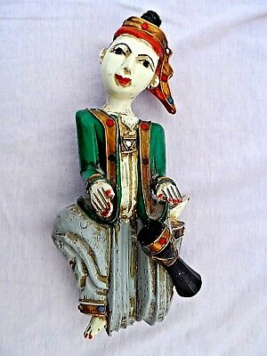 """Vintage Hand Carved Burmese Wooden Hanging Figurine Lovely Condition 10"""" Tall"""