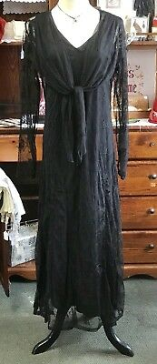 NWT Victorian Trading APRIL CORNELL Black Lace Mourning Halloween Dress Size MED