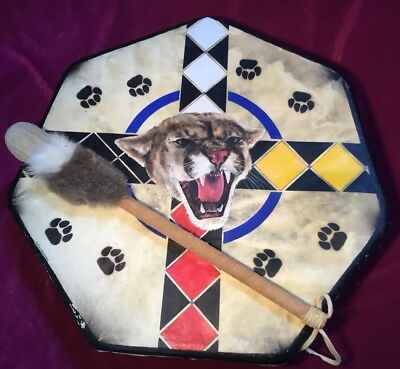 Rare Vintage Hand Painted 7 Sided Indian Hand Drum, With Drumstick, Signed