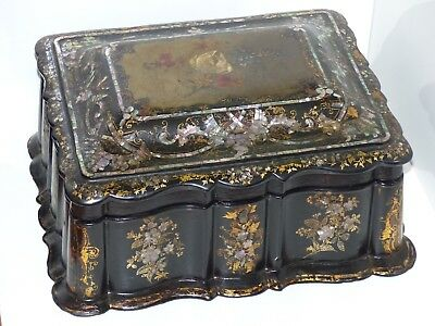 SUPERB Large Antique Inlaid Victorian Papier Mache Sewing / Work Box / Casket