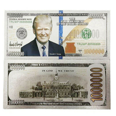 Donald Trump $1000000 Dollar Note Silver Foil Banknote Make America Great Again
