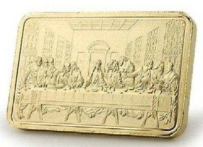 Collectors 24K Gold Clad One Troy Ounce Bar - The Last Supper and Jesus Christ
