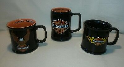 ☆ LOT 3 Harley-Davidson Motor Cycles Official Licensed 3D Black Coffee Mug Cup