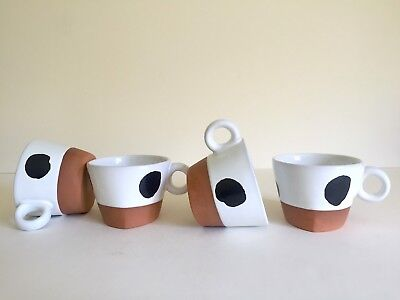 Paul Eshelman Rare Vtg 1990 Modernist Stuio Pottery B&w Ceramic Mugs - 4Pc Set