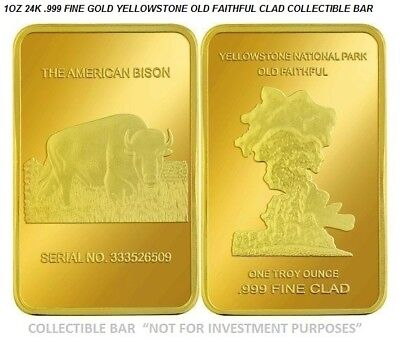 New 1 OZ Gold Clad Yellowstone National Park Collectors Bar