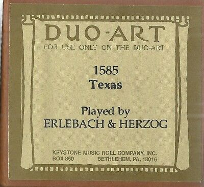 Texas Fox Trot, Rag, (Guion), PB Erlebach & Herzog, Duo-Art 1585 Piano Roll rct