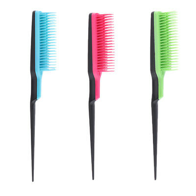 3-rows Plastic Comb Dish Hair Brush Boar Hairbrush Green/Rose Red/Rose Red