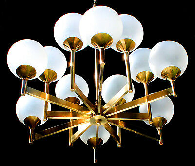 Frosted ORGANIC BRASS SPUTNIK Rare Architectural 12 Glass Globes Chandelier