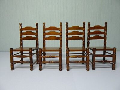 Dolls House Miniature 1:12 Scale Ladder Back Dining / Parlour / Shop Chair x 4