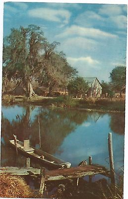 Vintage 1950 postcard New Orleans Along the Bayou,
