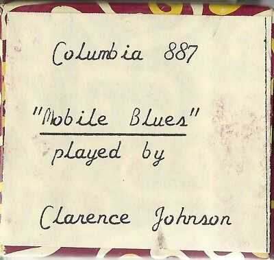 Mobile Blues, played by Clarence Johnson, Columbia 887 Piano Roll recut
