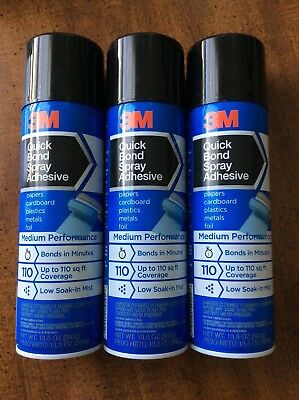 LOT OF 3 CANS 3M QUICK 13.5oz BOND SPRAY ADHESIVE PAPER PLASTIC METAL CARDBOARD
