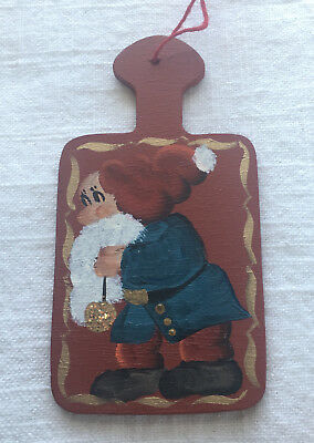 "Small Wood Paddle-board w Nisse Dwarf Norwegian Elf Xmas Tree Ornament 4"" long"
