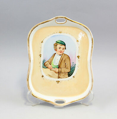 Tray with Portrait of young in coloured Hand painting um 1900 99840248