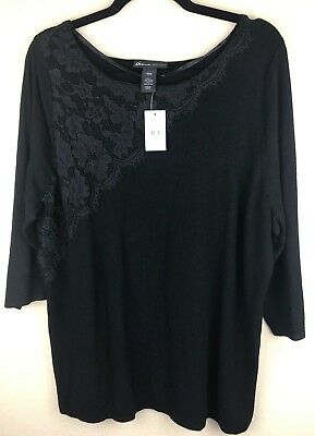 NWT Lane Bryant Black 3/4 Sleeve Sweater with Black Lace Detail 18/20