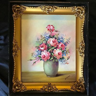 Antique Oil Painting 'still A Life' Original Gilded Frame Beautiful, Signed.