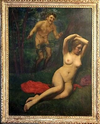 Antique Oil Painting'satyr & Nude' Created In 1920S Amazing Very Rare & Unique.