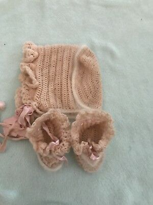 Vintage Hand Knitted Baby Bonnet And Booties