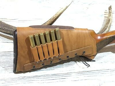 Leather Rifle Cartridge Buttstock Holder Cover Cheek Rest Padded - TAN COLOR