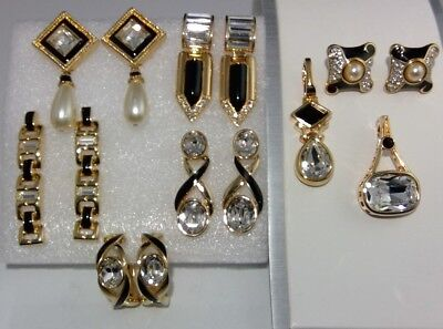 Vtg Signed Swarovski & S.a.l. Crystal Clear Rhinestone Black Enamel Jewelry Lot