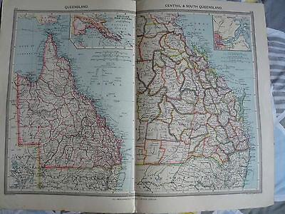 1900/1908 antique map QUEENSLAND Harmsworth Universal