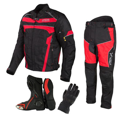 Motorbike Cordura Jacket Trouser Red Gloves Motorcycle Leather Shoes Boots Suit