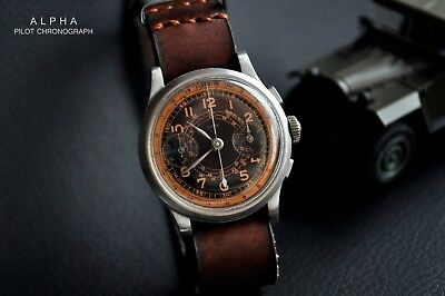 Vintage Alpha Military 1940s Pilot Watch Flyback Chronograph WW2 Very Rare
