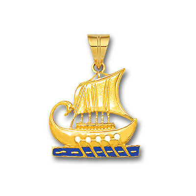 Trireme - Ancient Greek Ship ~ 14K Solid Gold and Enamel Pendant - S