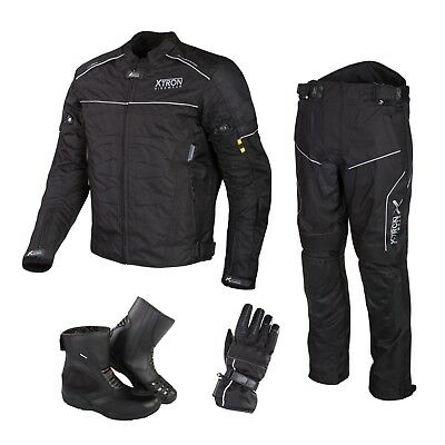 Black Motorbike Cordura Jacket Trouser Waterproof Motorcycle Leather Boots Suit