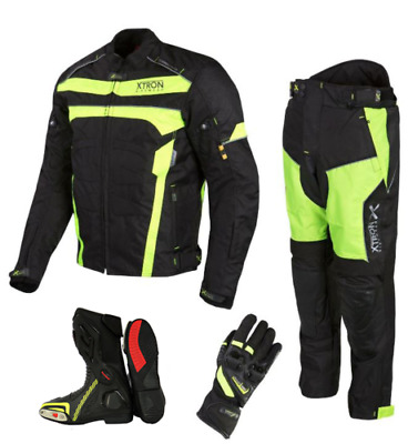 Motorbike Cordura Jacket Trouser Hi viz Motorcycle Leather Shoes Boots Suit Free