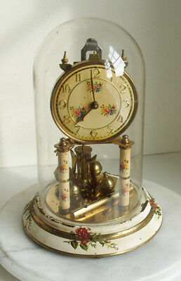 Vintage Kern Dome Clock / Kern Anniversary clock and Glass Dome with key