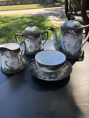 Vintage Hand Painted Japanese Blue Raised Dragon Tea Set!