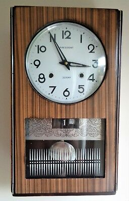 Vintage Korean PRESIDENT Mechanical Wall Clock 30 Day Date, Day, Chime - Working