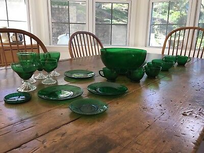 Antique Green Glass Collection, Festive, Holiday, punch Bowl and More