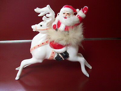 Vtg Plastic Santa Riding Reindeer w/ Fur Trim