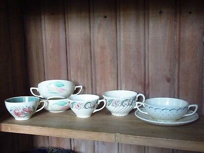 Lot Of Vintage Art Deco Susie Cooper Hand Painted Spare Teacups And Soup Coupes
