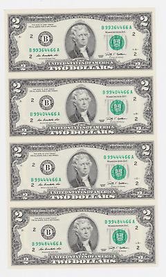USA ,$ 2, 2009, LEGAL TENDER .4 PCS uncut sheet ,WITH FOLDER ,CERTIFICATE, UNC