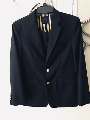 Boys NAUTICA Dark Blue Blazer Sport Coat Jacket Gold Buttons Size 16