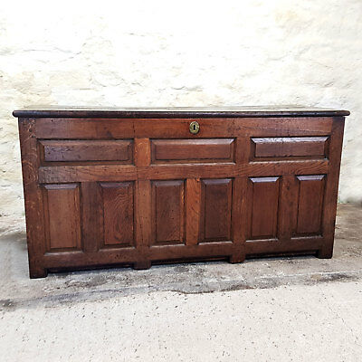 Early C18th Panelled Oak Coffer with Plank Top & Earlier (Georgian Chest Kist)