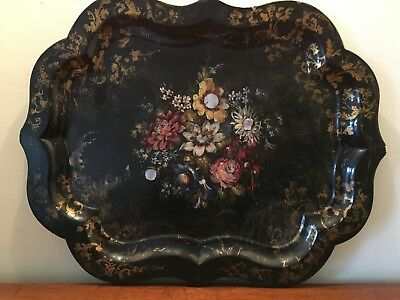 Antique Victorian Papier-mâché Hand Painted Tray with Mother of Pearl MOP