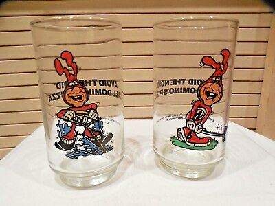 2 Vintage Domino's Pizza Nord Collector Drink Glasses--1987-88