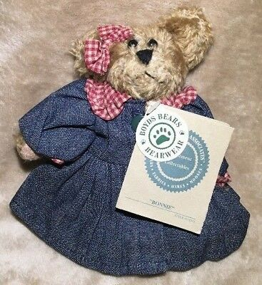 """Boyds Bear Bonnie 6"""" J B Bean Investment Collectables Plush Jointed NWT RETIRED"""