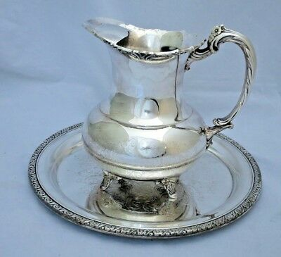 Oneida Community Ascot Silverplate Footed Pitcher Ice Lip Round Tray Floral