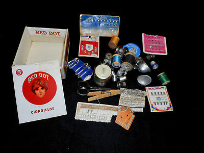 Vtg Sewing Items in Wooden Red Dot Cigarillos Box, Thimbles, Eyes & Hooks, Etc