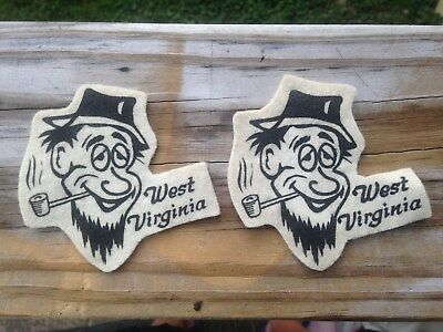 Pr. of Vintage West Virginia Felt Patches--Man Smoking Pipe