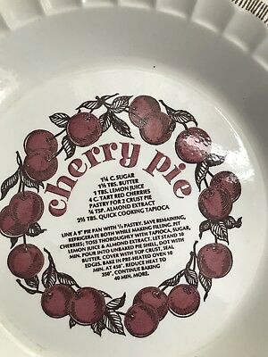 "Vintage 1983 Royal China Co. 11"" Cherry Pie Plate Dish W/Imprint Recipe"