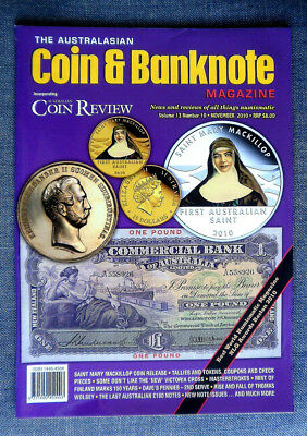 The Australasian Coin and Banknote Magazine,  Vol 13, #10, November,  Year 2010
